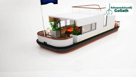 Houseboat Cube, Woonboot  for sale by Scheepsmakelaardij Goliath Heerenveen